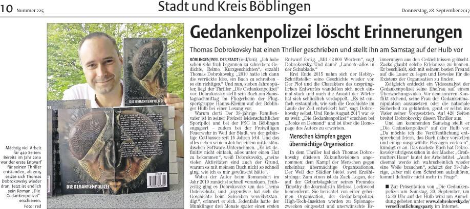 Presseartikel in der Kreiszeitung Böblinger Bote