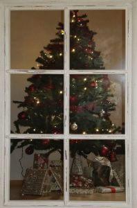 Weihnachtsbaum hinter dem Fenster